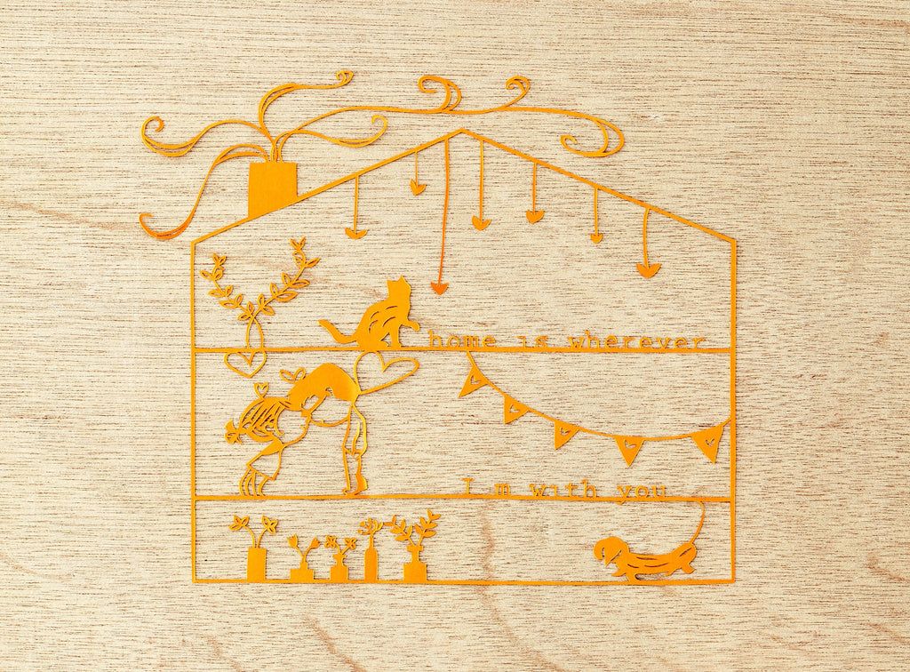Laser-Cut Papercutting Artwork - Home is Wherever I'm With You