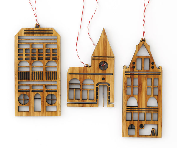 Laser-Cut Artwork - Bamboo Christmas Tree Ornament Set - Amsterdam Row Houses