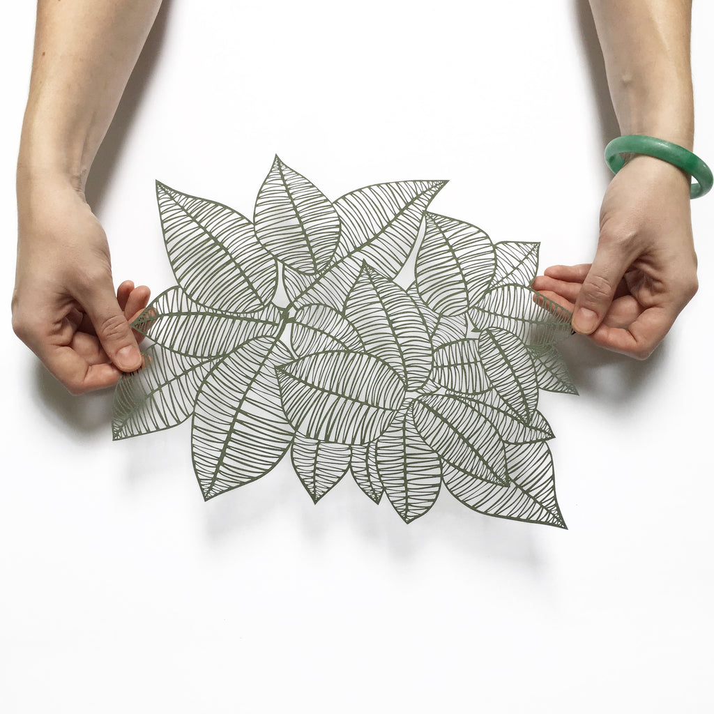 Laser-Cut Papercutting Artwork - Rubber Leaves