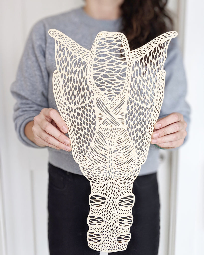 Anatomical Larynx Lasercut Wooden Artwork