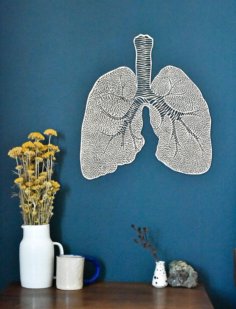 Lasercut Birch Wood Lungs Artwork, by Light + Paper, Made in Toronto