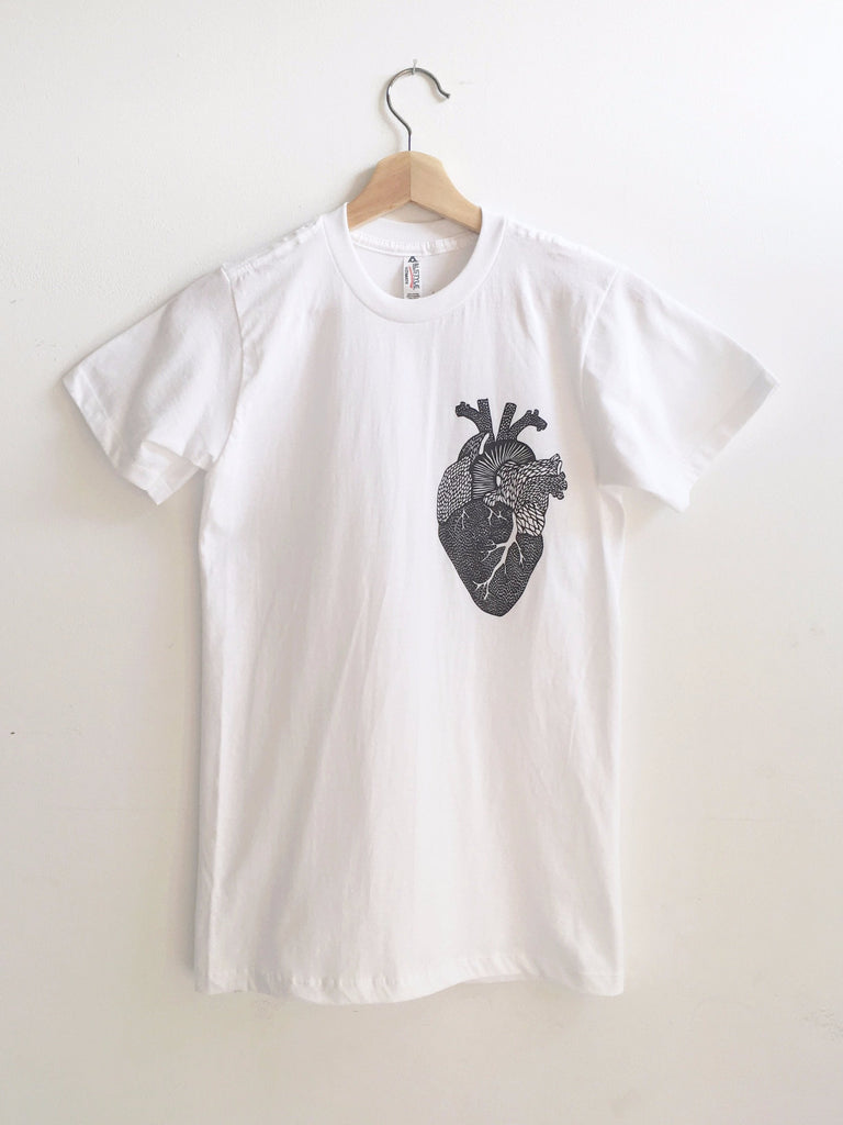 Heart White T-shirt - Organ Papercutting Artwork Shirt