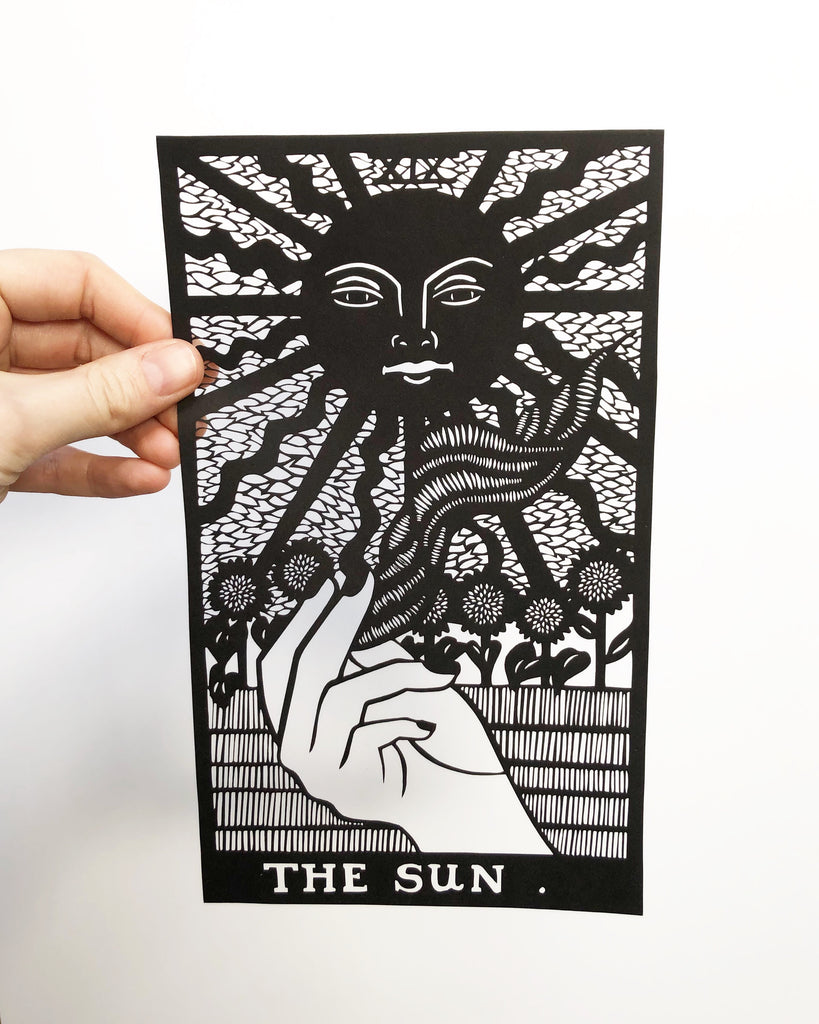 Laser-Cut Papercutting Artwork - The Sun Tarot Card