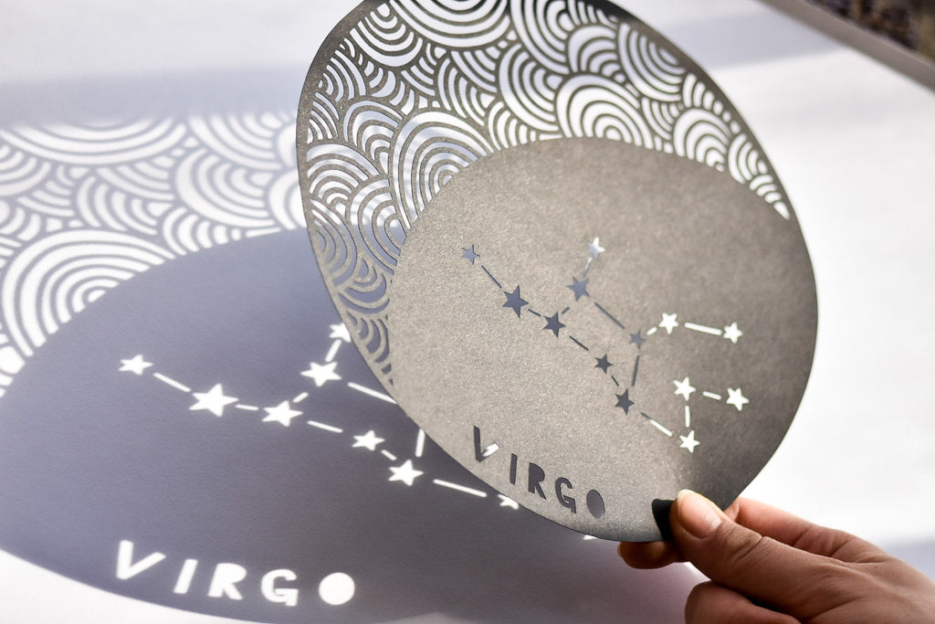 Papercutting art by Ali Harrison of Light + Paper, Lasercut Virgo Astrology Papercutting, Made in Toronto