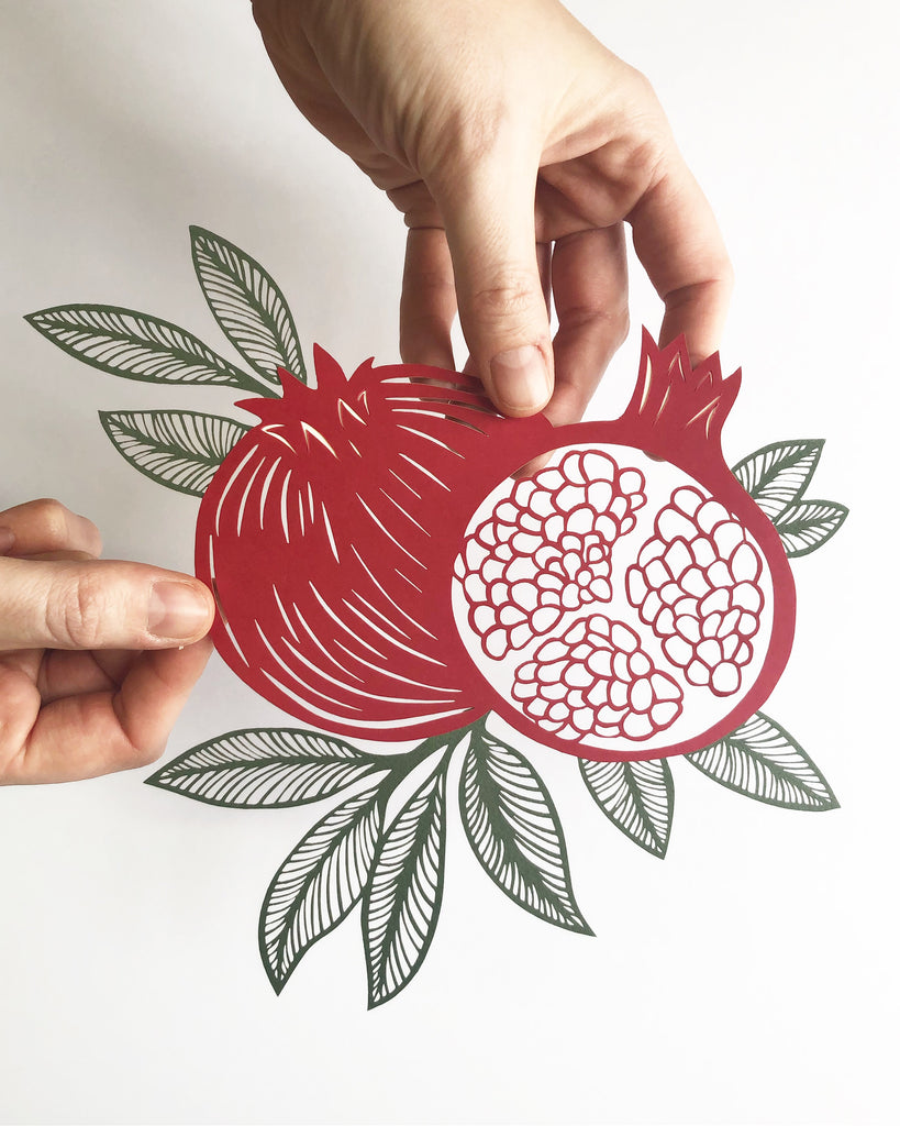 Laser-Cut Papercutting Artwork - Pomegranate