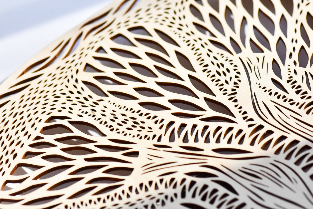 Lasercut Birch Wood Artwork, by Light + Paper, Made in Toronto