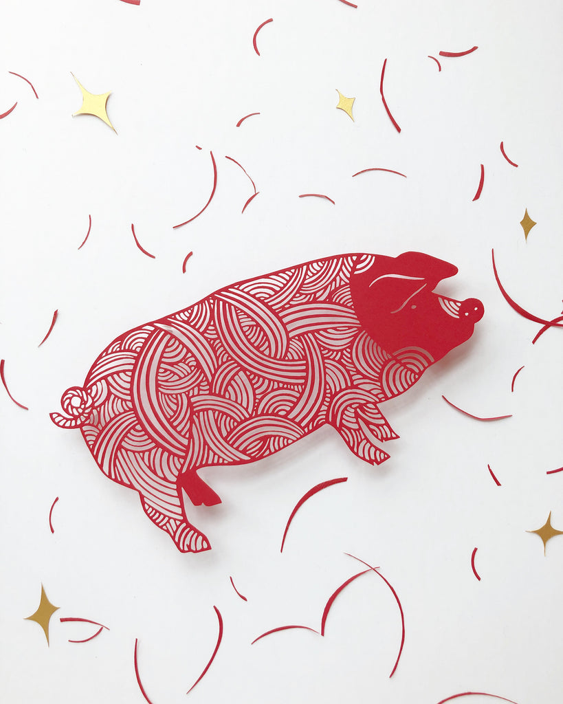 Laser-cut Papercutting Artwork - Pig