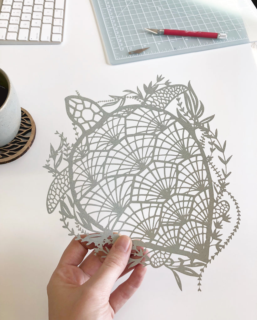 Laser-cut Papercutting Artwork - Sea Turtle