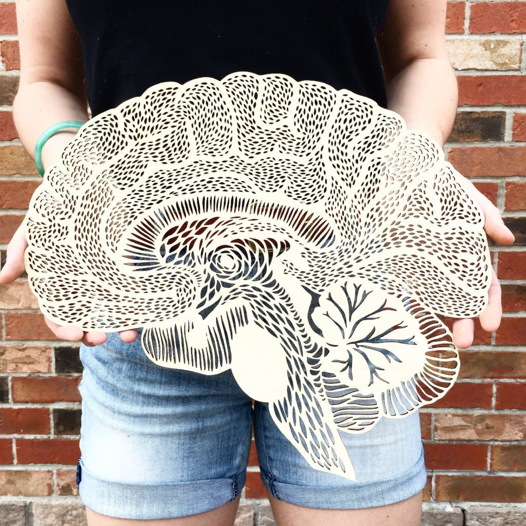 Anatomical Brain Lasercut Wooden Artwork