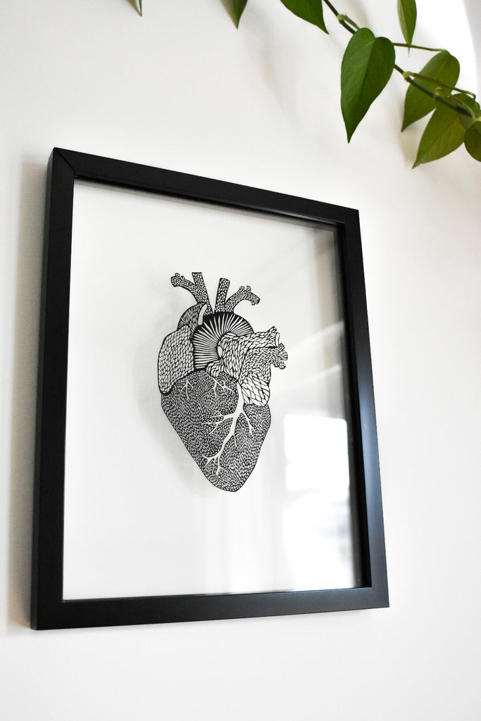 Laser-Cut Papercutting Artwork - Anatomical Heart