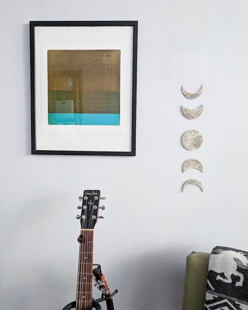 Hanging Wooden Artwork - Moon Phases