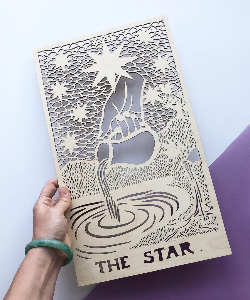 Wooden Tarot Card Artwork - The Star