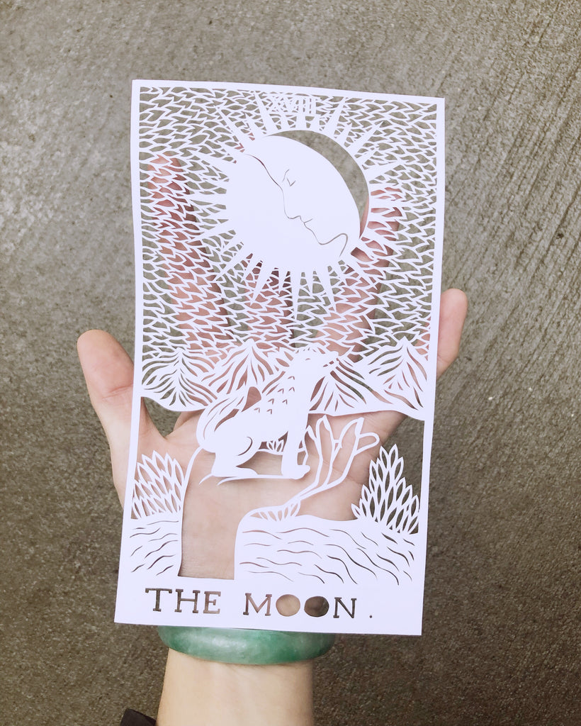 Laser-Cut Papercutting Artwork - The Moon Tarot Card
