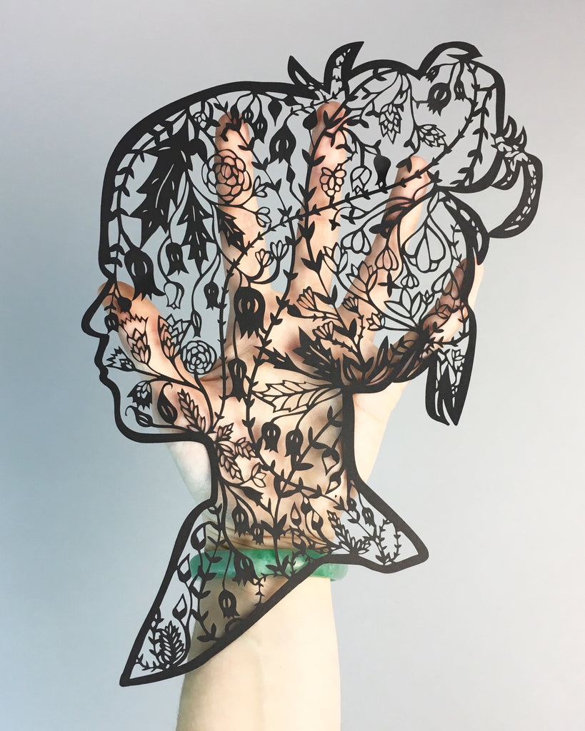 Laser-Cut Papercutting Artwork - Floral Woman Silhouette