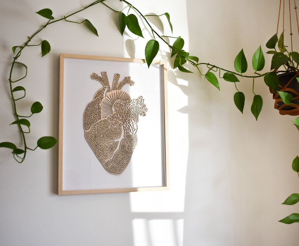 Lasercut Birch Wood Heart Artwork, by Light + Paper, Made in Toronto