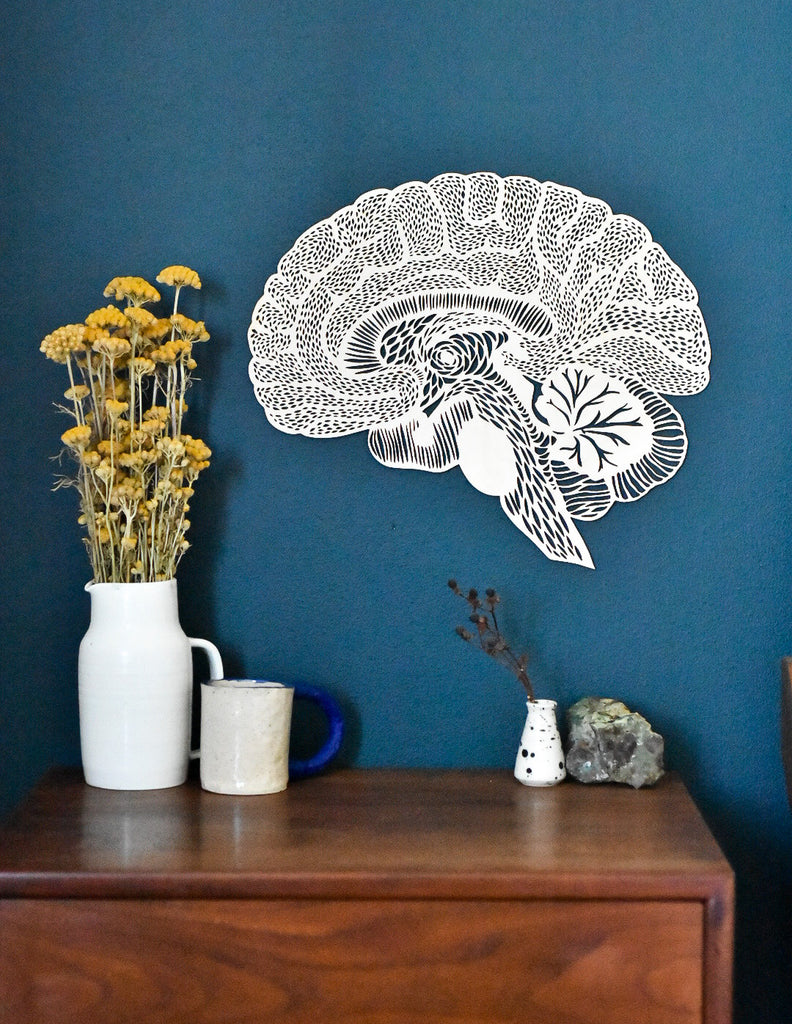 Lasercut Birch Wood Brain Artwork, by Light + Paper, Made in Toronto