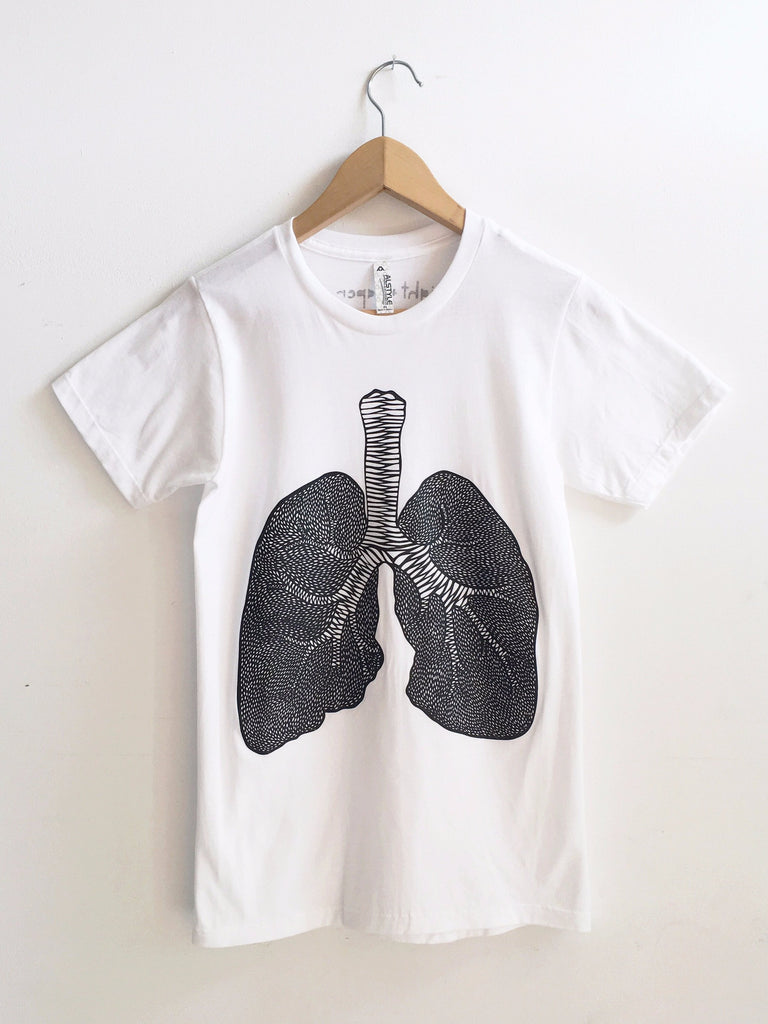 Lungs White T-shirt - Organ Papercutting Artwork Shirt