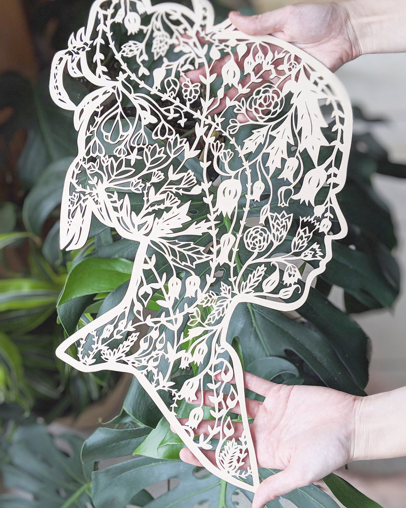 Floral Silhouette Lasercut Wooden Artwork