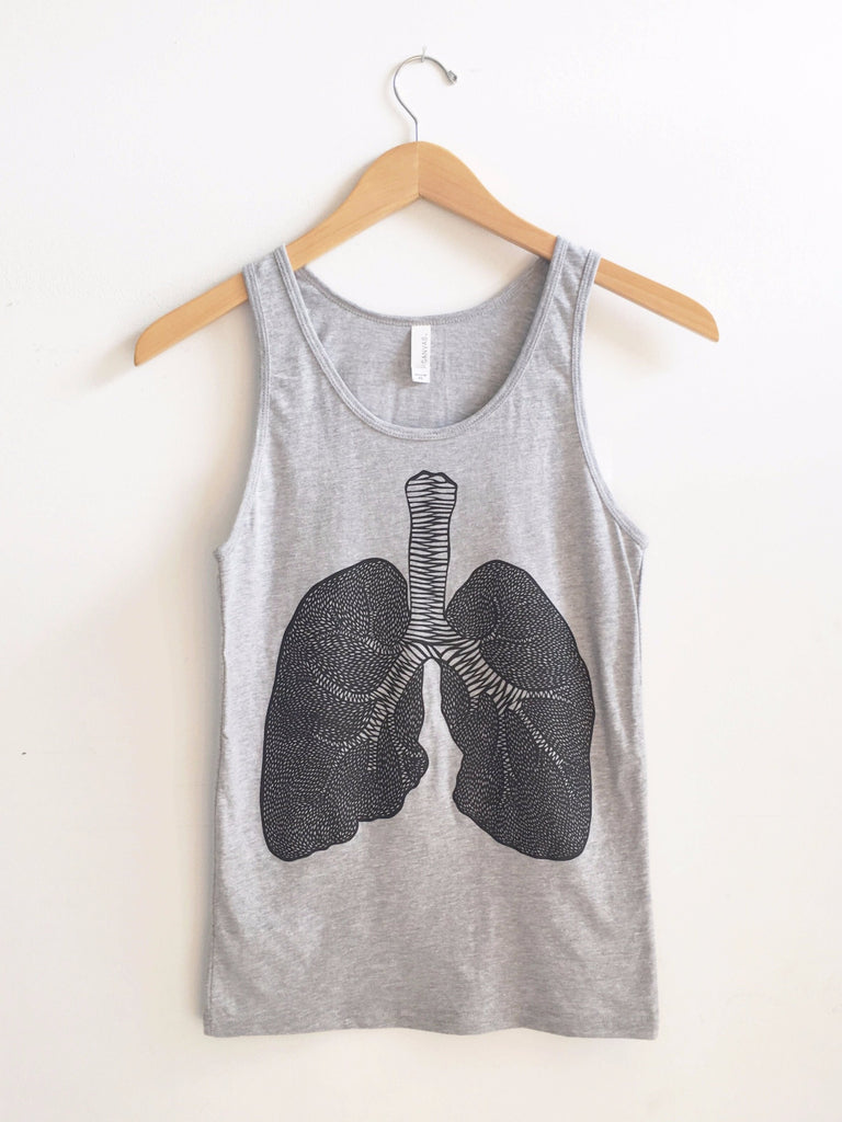 Lungs Grey Tank Top - Organ Papercutting Artwork Shirt