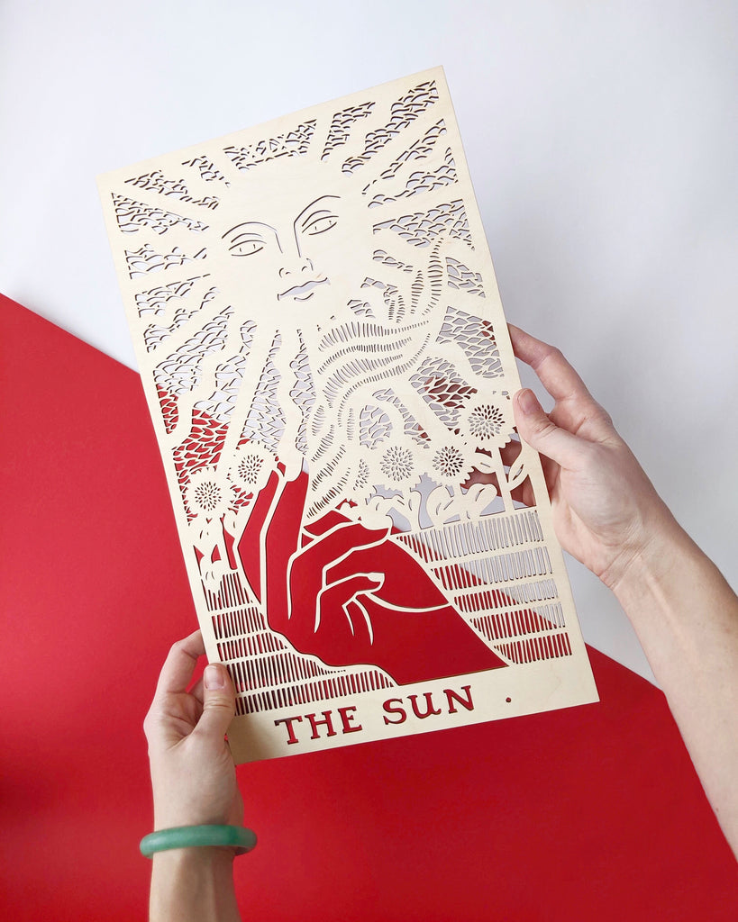 Wooden Tarot Card Artwork - The Sun