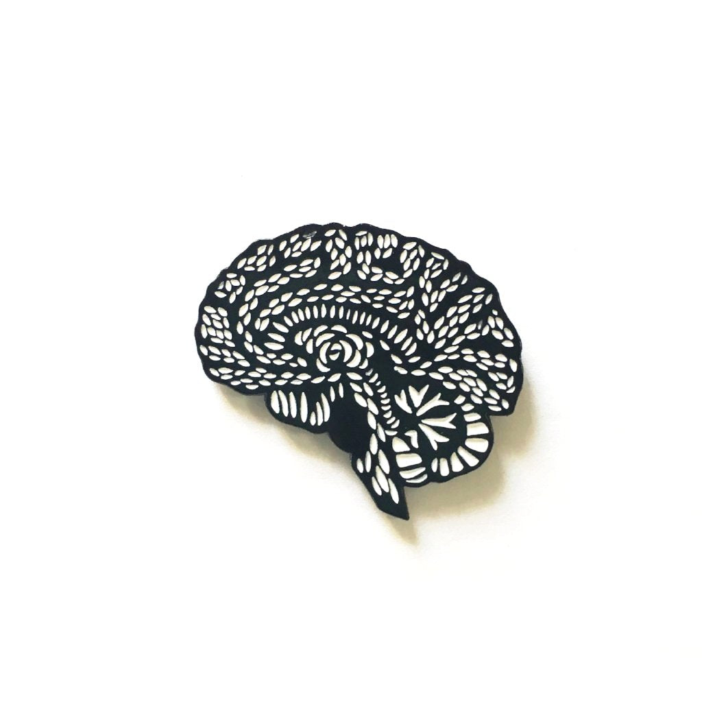 Anatomical Brain Enamel Pin Designed by Light + Paper, Made in Toronto