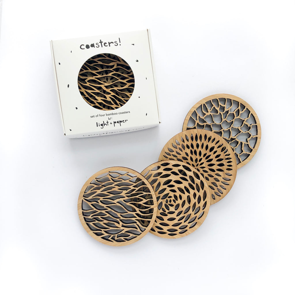 Lasercut Bamboo Wood Coasters, by Light + Paper, Made in Toronto