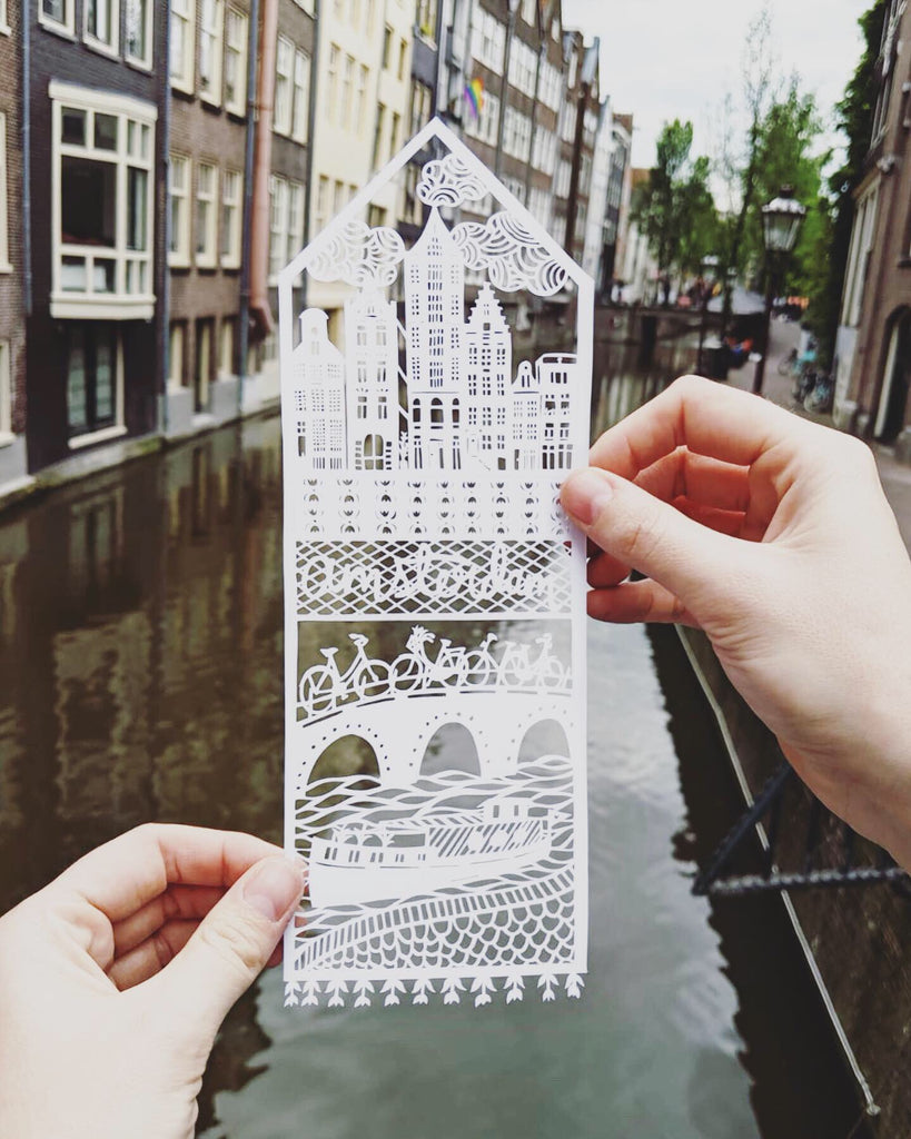 Papercutting art by Ali Harrison of Light + Paper, Lasercut Amsterdam Travel Papercutting, Made in Toronto