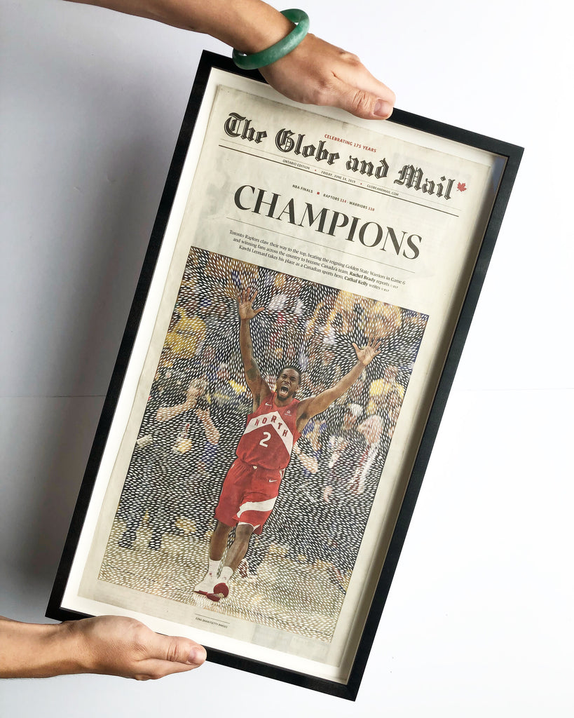 CHAMPIONS - Kawhi Leonard Globe and Mail handcut newspaper papercutting