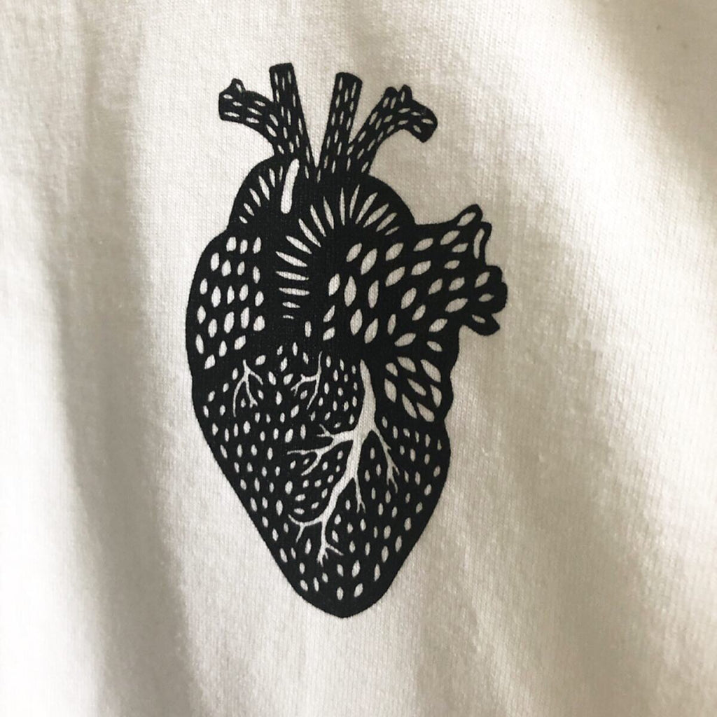 Small Heart White T-shirt - Organ Papercutting Artwork Shirt