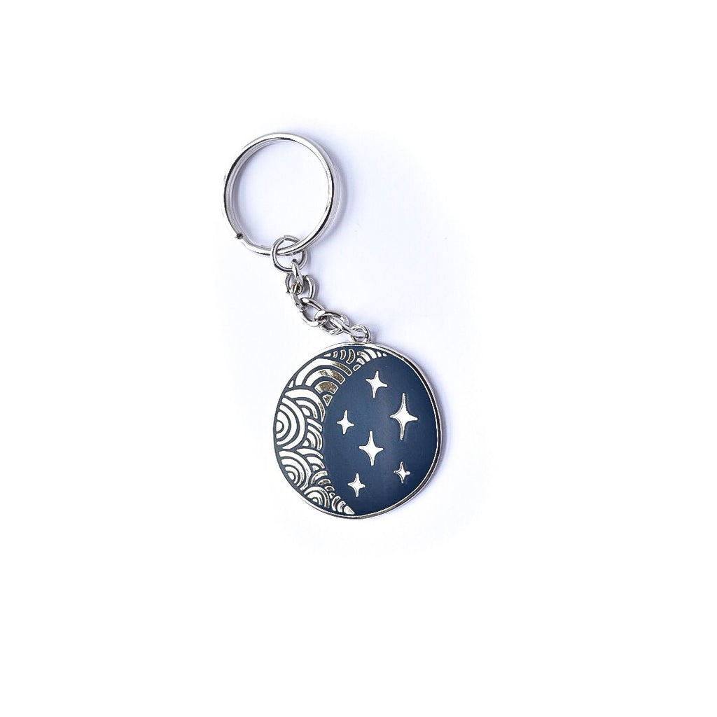 Moon and Stars Enamel Keychain