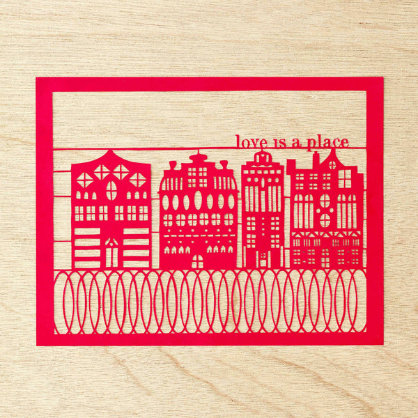 "Hand-Cut Papercutting Artwork - Amsterdam Houses - ""Love is a Place"""