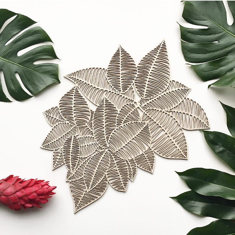 Lasercut Wooden Artwork - Rubber Leaves