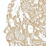 Hand-Cut Papercutting Artwork - Floral Woman Silhouette