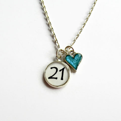 Birthday Necklace with Heart Charm - Choice of Colours - Because of Annie