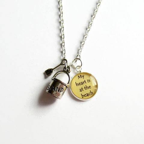 "Bucket and Spade ""My Heart is at the Beach"" Charm Necklace - Because of Annie"