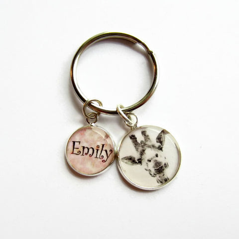 Personalised Giraffe Keyring - Choice of Colours - Because of Annie