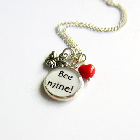 """Bee Mine"" Bumble Bee and Red Heart Charm Necklace - Because of Annie"