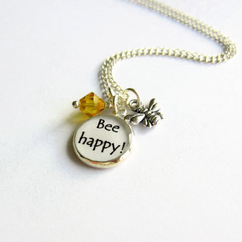 "Bumble Bee ""Bee Happy"" Charm Necklace - Because of Annie"