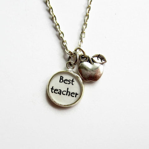Best Teacher Apple Charm Necklace - Because of Annie