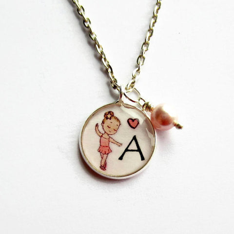 Personalised Initial Letter Pink Ballerina Necklace - Because of Annie