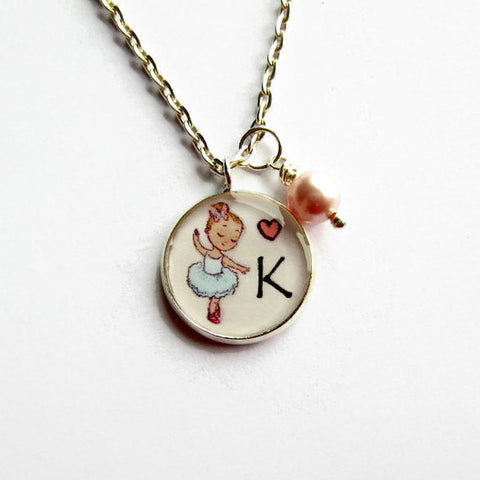 Personalised Initial Letter Blue Ballerina Necklace - Because of Annie