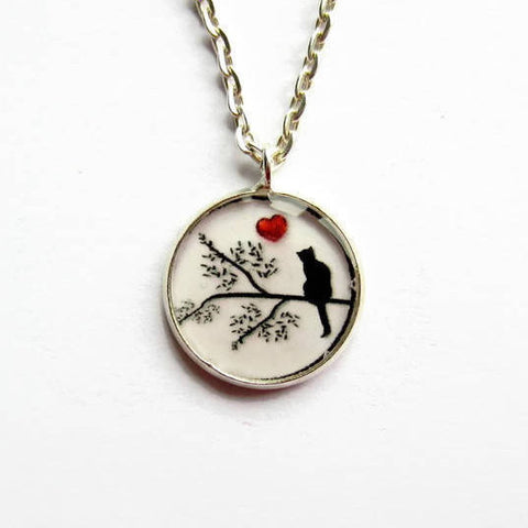 Black Cat and Red Heart Pendant Necklace - Because of Annie