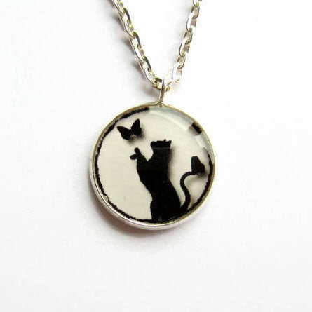 Black Cat and Butterfly Pendant Necklace - Because of Annie