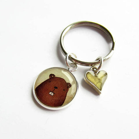Beaver Keyring with Green Heart Charm - Because of Annie