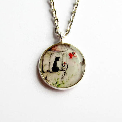 Black Cat and Red Butterfly Necklace - Because of Annie
