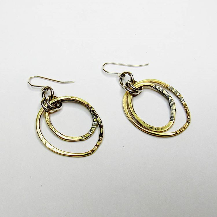 Brass Circles Collection - Double Hook Earrings