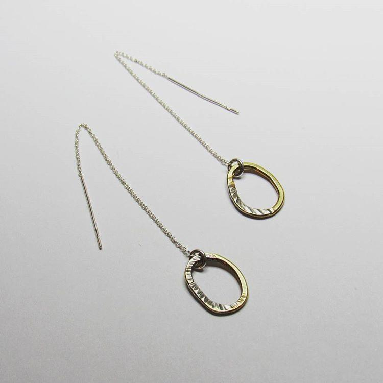 Brass Circles Fused with Silver threader earrings