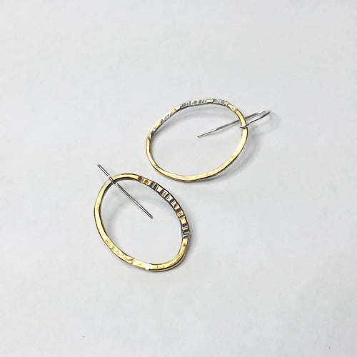 Brass Circles Collection - Single Hook Earrings