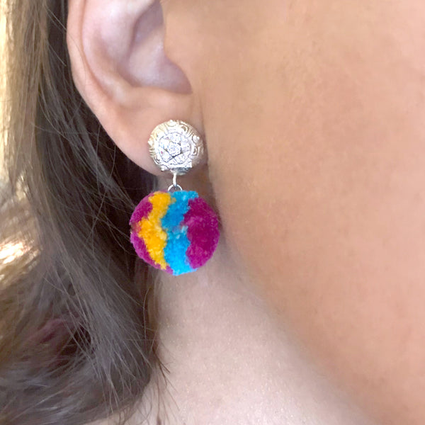 Tropical Mini PomPom Earrings