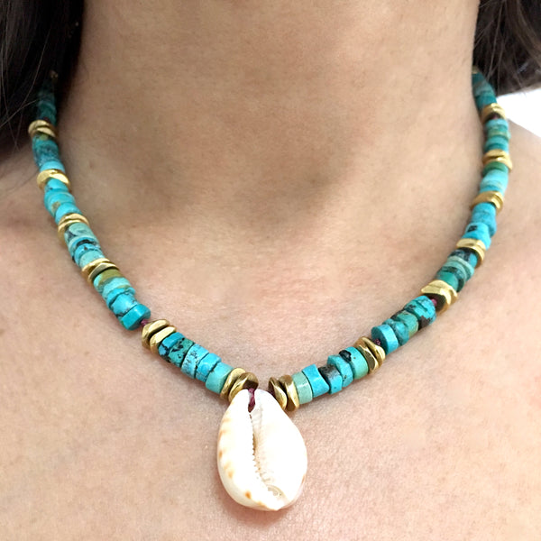 Turquoise and Shell Summer Necklace